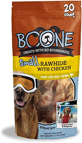 Boone 3.5-4 Small Rawhide with Chicken 20 Pack , One Size