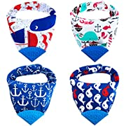 Honey Molly Baby Bandana Bibs for Teething and Drooling - 4 Pack Soft Drool Bibs for Boys and Girls - BPA-Free Food Grade Silicone Teether, Adjustable Nickel-Free Snaps - 100% Organic Cotton (Blue)