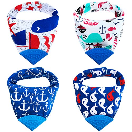 Honey Molly Baby Bandana Bibs for Teething and Drooling - 4 Pack Soft Drool Bibs for Boys and Girls - BPA-FREE Food Grade Silicone Teether, Adjustable Nickel-Free Snaps - 100% - Christmas Tutorial Felt