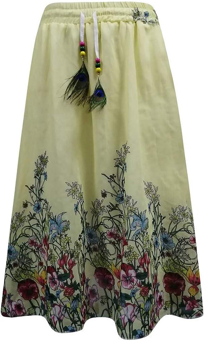 Sylar Faldas Largas Mujer Faldas Plisadas con Elástico Pretina ...