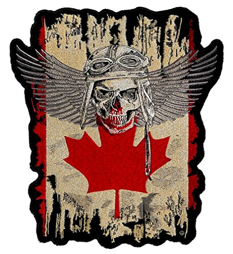 Leather Supreme Patriotic Canadian Flag Fighter Pilot Skull with Wings Biker Patch-Red-Medium
