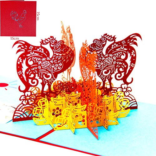 Paper Spiritz Happy New Year Of The Rooster 3D Pop up Greeting Card Postcard Matching Envelope Laser Cut Handmade Happy New Year Birthday Post Card Spring Festival Valentine's Day Gift(Pack of 1)