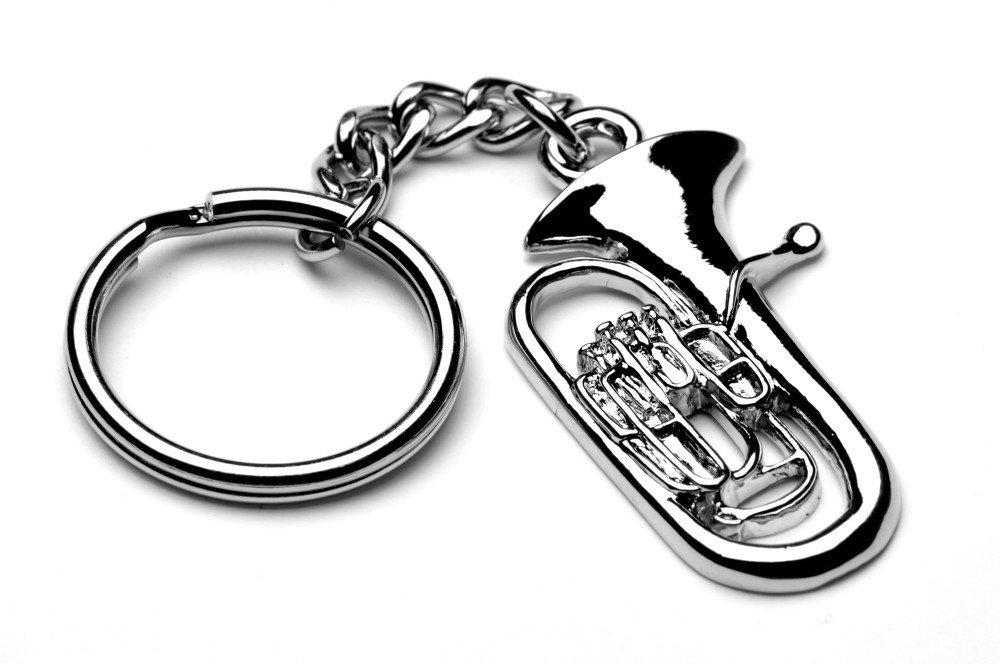 Euphonium Tuba Silver Metal Music Keyring