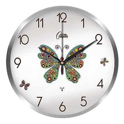 Aemember Radio reloj reloj de pared Mute Salón Dormitorio Relojes relojes grandes, 12 pulgadas,