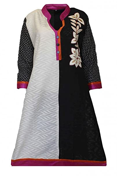 Krishna Sarees KUR3078 Top negro y marfil de Kurti, túnica hindú Indian Bollywood Kurti Top