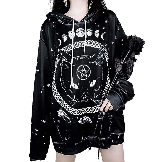 dafd06afe9e70 Fuerbvbc Oversized Harajuku Unisex Hoodies Gothic Moon Phase Starry Pattern  Witchcraft Cat Printed Women Men Loose