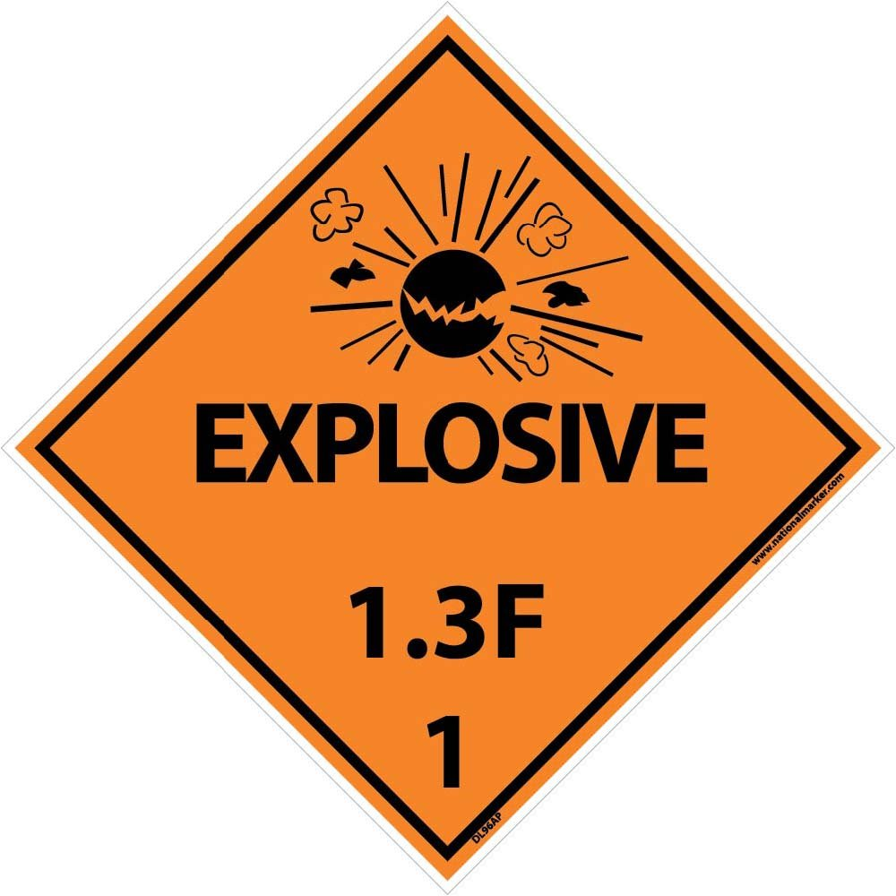 DL96AP National Marker Dot Shipping Labels, Explosive 1.3F, 4 Inches x 4 Inches, Ps Vinyl, 25/pk (Pack of 25)