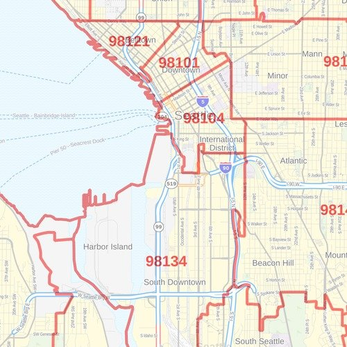 Seattle, Washington Zip Codes - 36\