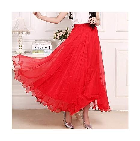 Amazon.com: Faldas largas de malla de gasa de alta cintura ...
