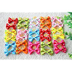 Yagopet 40pcs/20pairs New Dog Hair Bows Rubber Bands Choose 20 Styles Small Bowknot Pet Grooming Products 1.38inches Mix Colors Pet Hair Bows Topknot Dog Accessories Pet Grooming Products (Style 5)