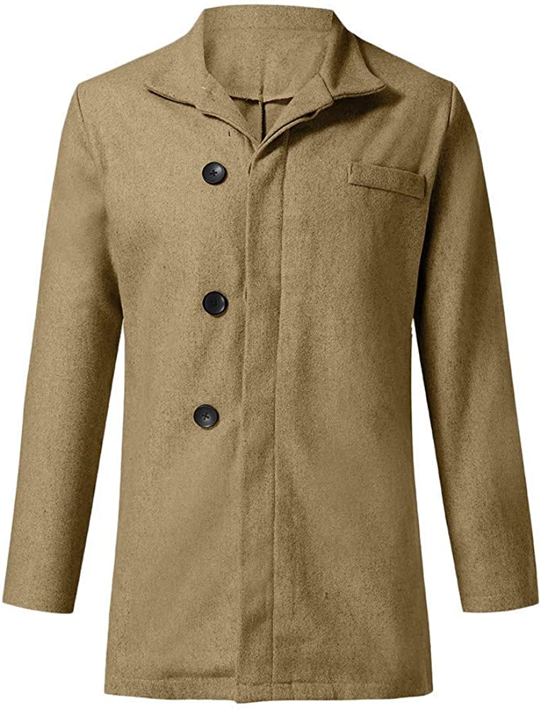 Mens Long Sleeve Solid Jacket Males Slim Fit Pockets Tops Wool Outwear Slim Fit Trench Coat