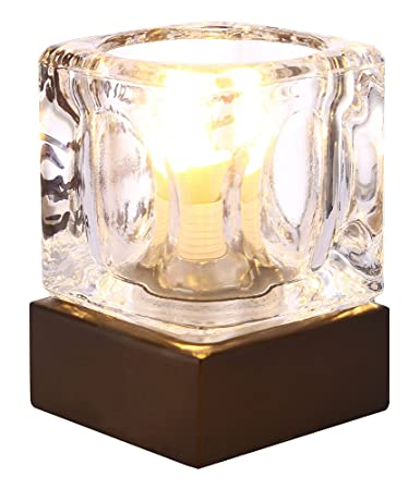 Modern ice cube glass 4 stage touch dimmable table lamp with bronze modern ice cube glass 4 stage touch dimmable table lamp with bronze base by haysoms aloadofball Choice Image