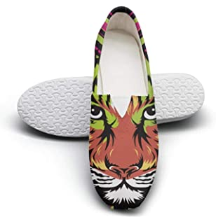 Colorful Animals Party Lion Lace Up Sneakers Canvas Skate Shoes for Women Round Toe