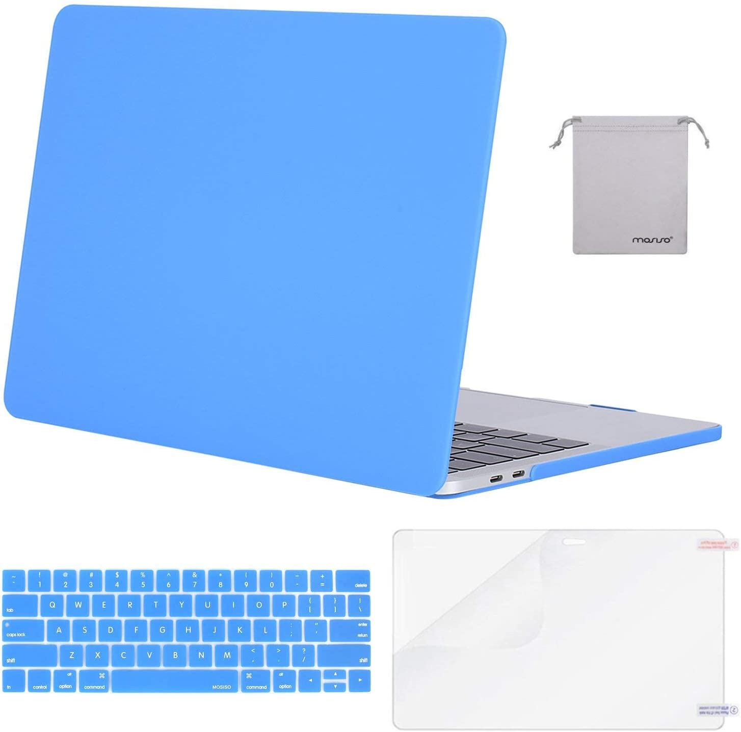 MOSISO MacBook Pro 13 inch Case 2019 2018 2017 2016 Release A2159 A1989 A1706 A1708, Plastic Hard Shell Case&Keyboard Cover&Screen Protector&Storage Bag Compatible with MacBook Pro 13, Brahmin Blue