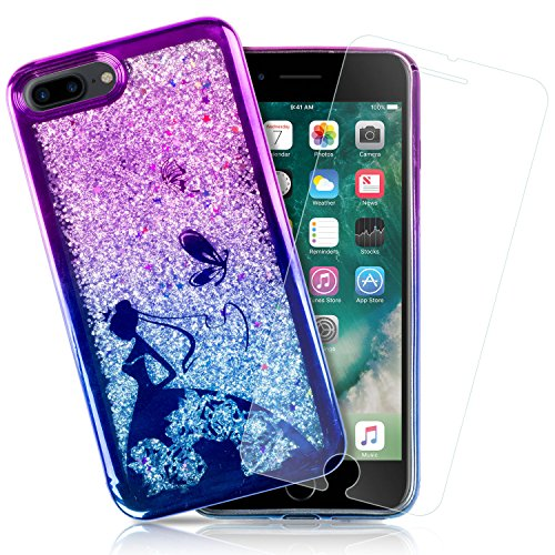GolemGuard Apple iPhone 7 Plus & iPhone 8 Plus Floating Liquid Yellow Confetti / Stars Case, Soft TPU Bumper Bling Black Case w/ 3D Tempered Glass - Metallic Purple / Blue Owl Pattern