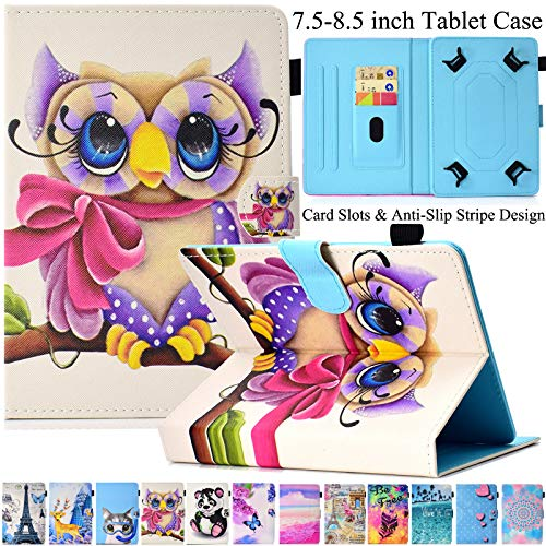 Universal 7.5-8.5 inch Tablet Case, Artyond Multi-Angle Stand Flip Wallet Case with Cards Slots Magnetic Buckle Cover for iPad Mini,Kindle,Android,Galaxy Tab & Other 7.5-8.5 inch Tablet (Girl Owl) (Samsung 4 Galaxy Mini Owl Case)