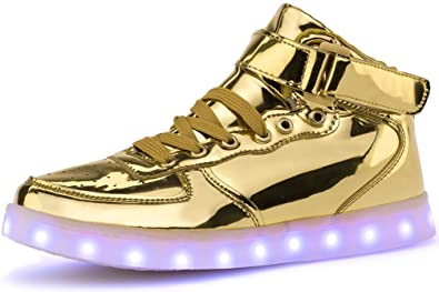 Poppin Kicks Unisex Adults Led Light Up Shoes Metallic Leather High Top Sneakers Gold Women 4 5