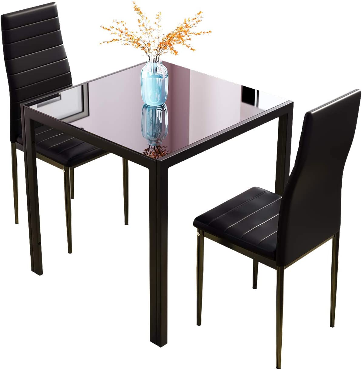 Small Dining Table Set For 4, J Dining Table And Chairs Glass Square Small Kitchen Table With High Back Chairs Black 3 Amazon Co Uk Kitchen Home