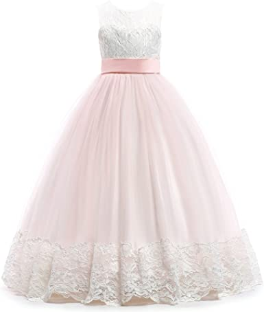 Satin Flower Girl Party Wedding Bridesmaid Dress Lilac Ivory Pink 4 to 12 Years