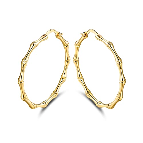 122c791fd Amazon.com: Barzel Gold Plated Bamboo Hoop Earrings: Jewelry