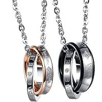 """Flongo coppia collana amante regalo per donna uomo anelli interblocco mosaico strass pendenti scrivono""""Forever Love"""" 2 colori un set in acciaio inossidabile"""