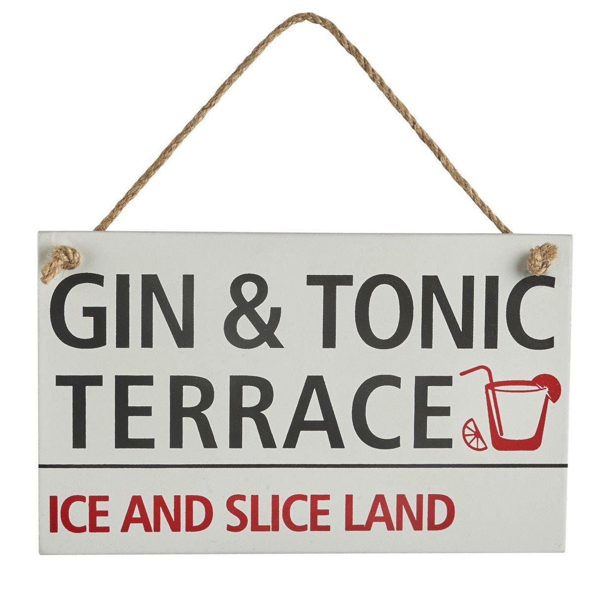 Homes on Trend Retro Hanging Sign Targa in legno stile vintage Gin/Prosecco Street Shabby