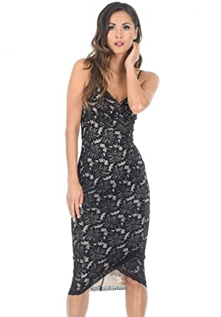 be9d34f6e90b AX Paris Women's Lace Midi Dress at Amazon Women's Clothing store: