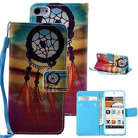 iPod Touch 5 Case, UrSpeedtekLive Dream Catcher Premium PU Leather Flip Wallet Case Cover W/ Wristlet Strap for iPod Touch 5th 6th Generation (Built-in Credit Card/ID Card (Ipod 6th Generation Strap)