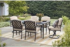 Hampton Bay Laurel Oaks 7-Piece Outdoor Dining Set_ Dark Brown with Beige Cushions