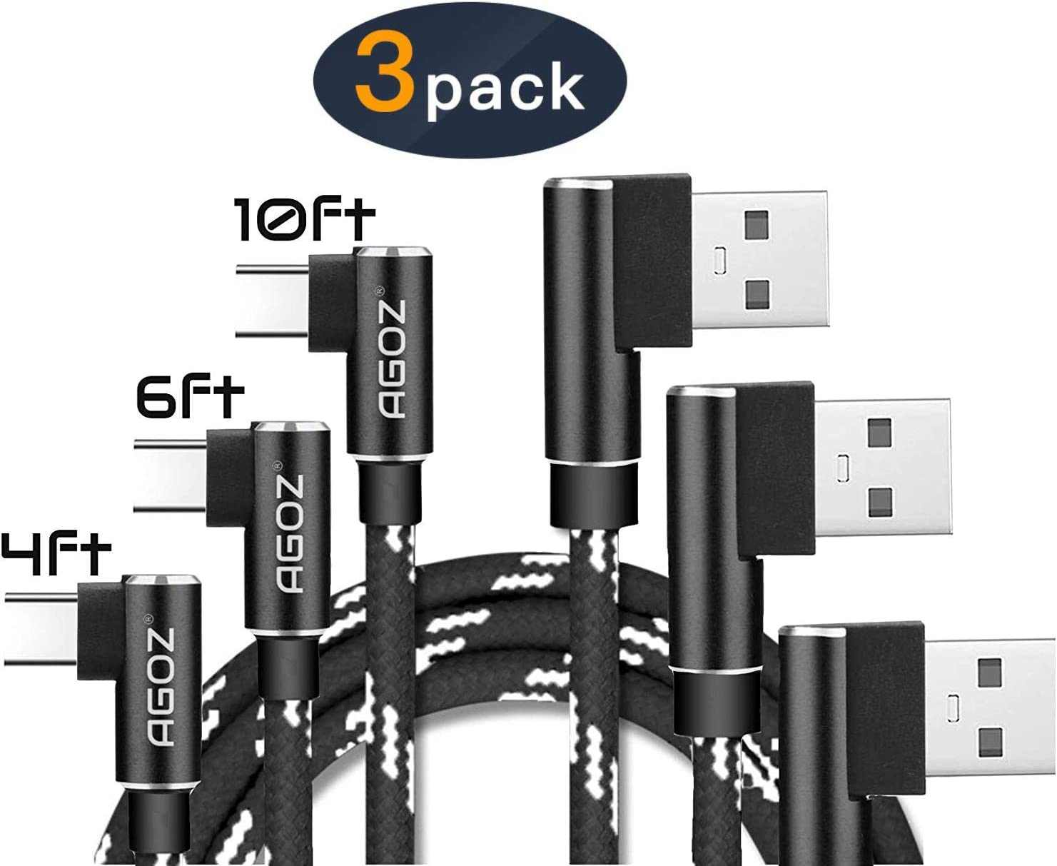 Agoz Black 3pack USB C Right Angle Cable, FAST Charger 4/6/10ft 90 Degree Type C For Samsung Galaxy S10 Plus S10e Note 8 9 S9 S8 A10e, LG Stylo 4 G8 G7 V40, Moto Z4 Z3 Z2, Pixel 3A XL,OnePlus 6T 7 PRO