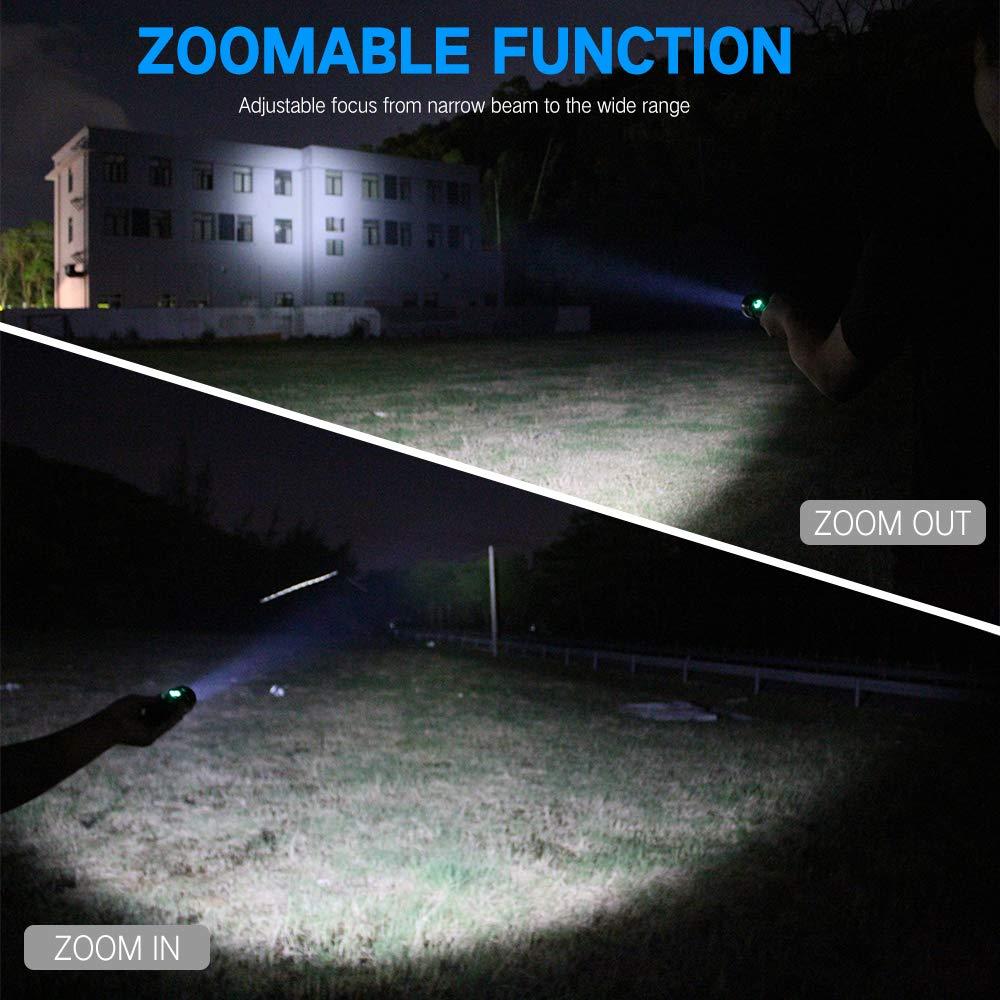 BESTSUN Linterna LED recargable XHP50 linternas t/áctica led alta potencia militar 3000 l/úmenes zoomable con bater/ía y cargador para la pesca senderismo camping