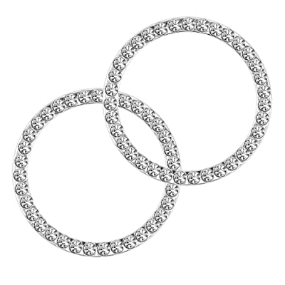Earthland 2Pcs Crystal Rhinestone Ring for Car Decor, Auto Engine Start Stop Decoration Crystal Interior Ring Decal for Vehicle Ignition Button-Silvery: Automotive