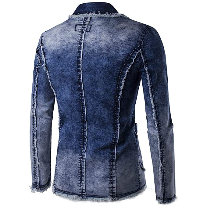 WM & MW Fashion Mens Blazer Button Pocket Fashion Vintage Denim Suit Jacket Cardigan Coat Outwear Long Sleeve at Amazon Mens Clothing store: