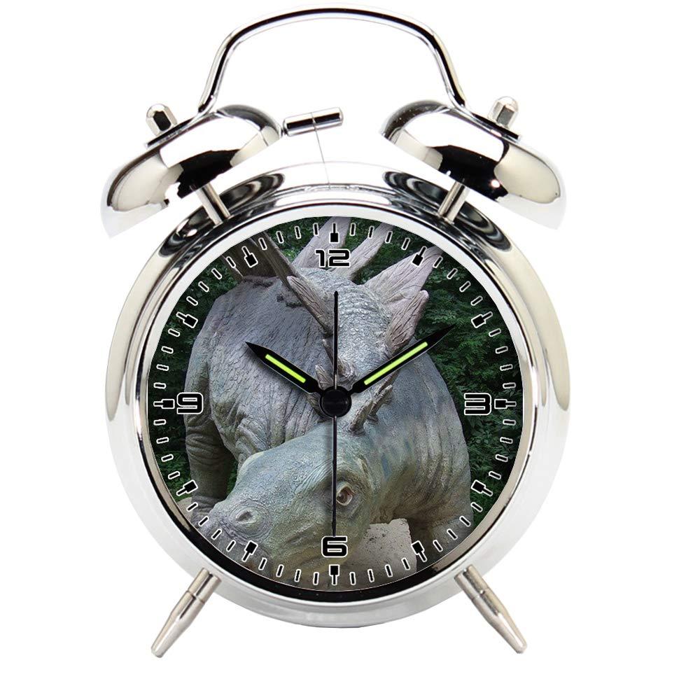 Children's Room Silver Dinosaur Silent Alarm Clock Twin Bell Mute Alarm Clock Quartz Analog Retro Bedside and Desk Clock with Nightlight-221.326_Dinosaur, Park, Prehistoric Times, Animal, Predator