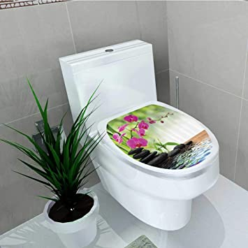 Printsonne WC Sitz Aufkleber Vinyl Schwarz Zen STE Drillinge Asiatischen  Typ Orchideen Fuchsia Salz Badezimmer