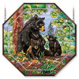 Amia 6490 Window Decor Panel, Bear Family, Hand-painted Glass, 22-Inch W by 22-Inch L
