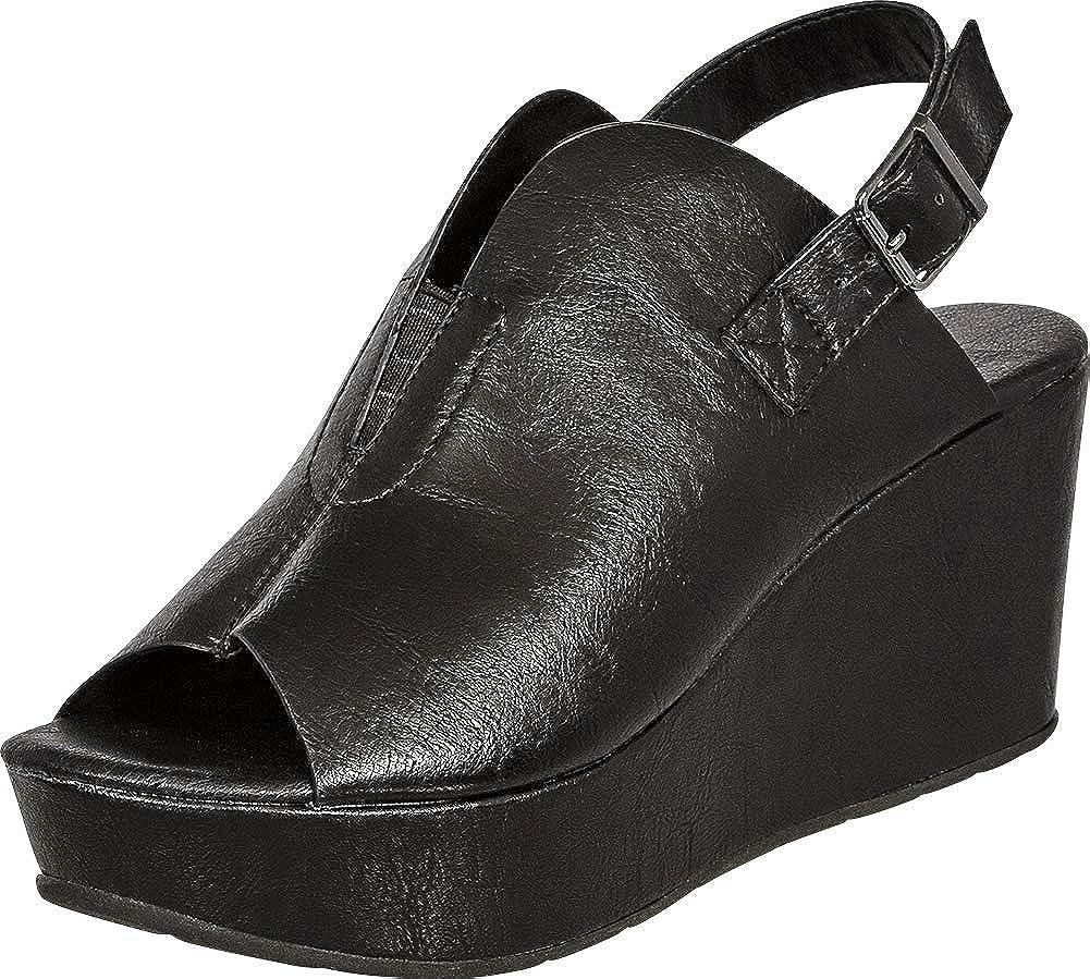 Black Pu Cambridge Select Women's Open Toe Front V Cutout Stretch Slingback Chunky Platform Wedge Sandal