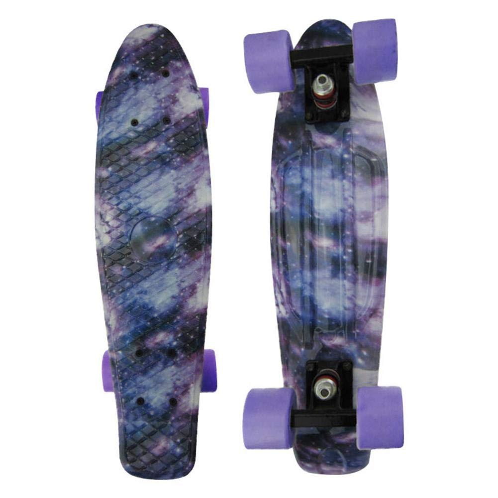 PEALO Skateboard para niños, 22 '' Completa patineta con patrón de Mini Crucero con Cubierta Robusta y 4 Ruedas de PU Transparentes para niños Adultos, niñas y niños Principiantes niñas y niños Principiantes