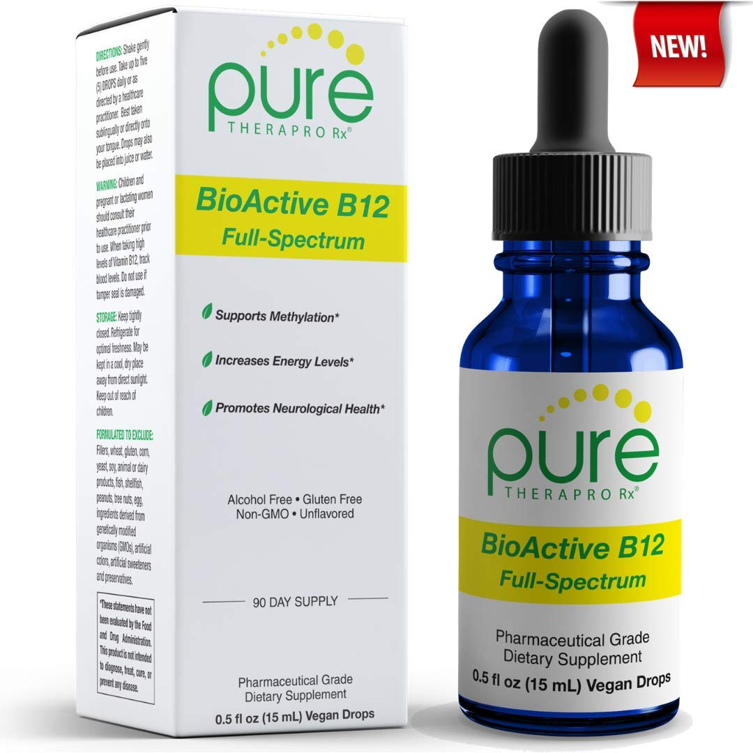BioActive B12 Full-Spectrum - Sublingual Drops - Includes 3-in-1 Bioavailable: Methylcobalamin, Adenosylcobalamin and Hydroxocobalamin - 90 Day Supply