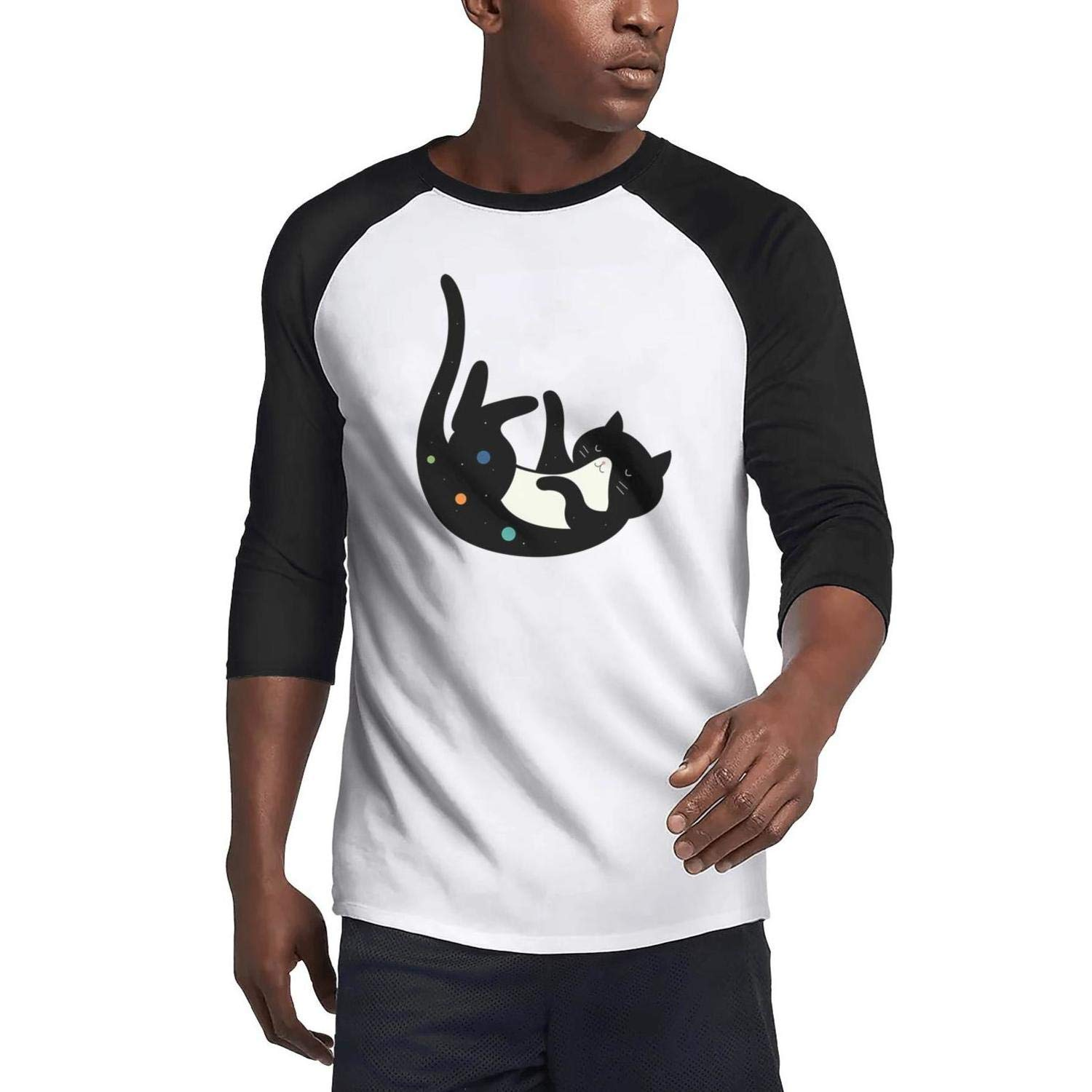 Adult Teeshirt Black cat Sweatshirt Close 3//4 Sleeve Raglan Lightweight Tshirts