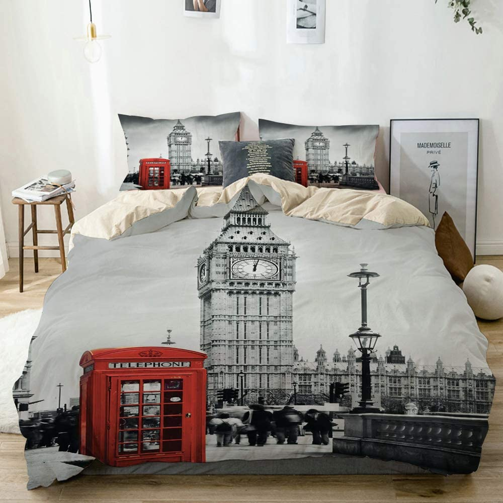 Minalo Duvet Cover Set Beige,Famous Telephone Booth and The Big Ben in England Street View Symbols of Town Retro UK Theme,Decorative 3 Piece Bedding Set with 2 Pillow Shams Queen Size