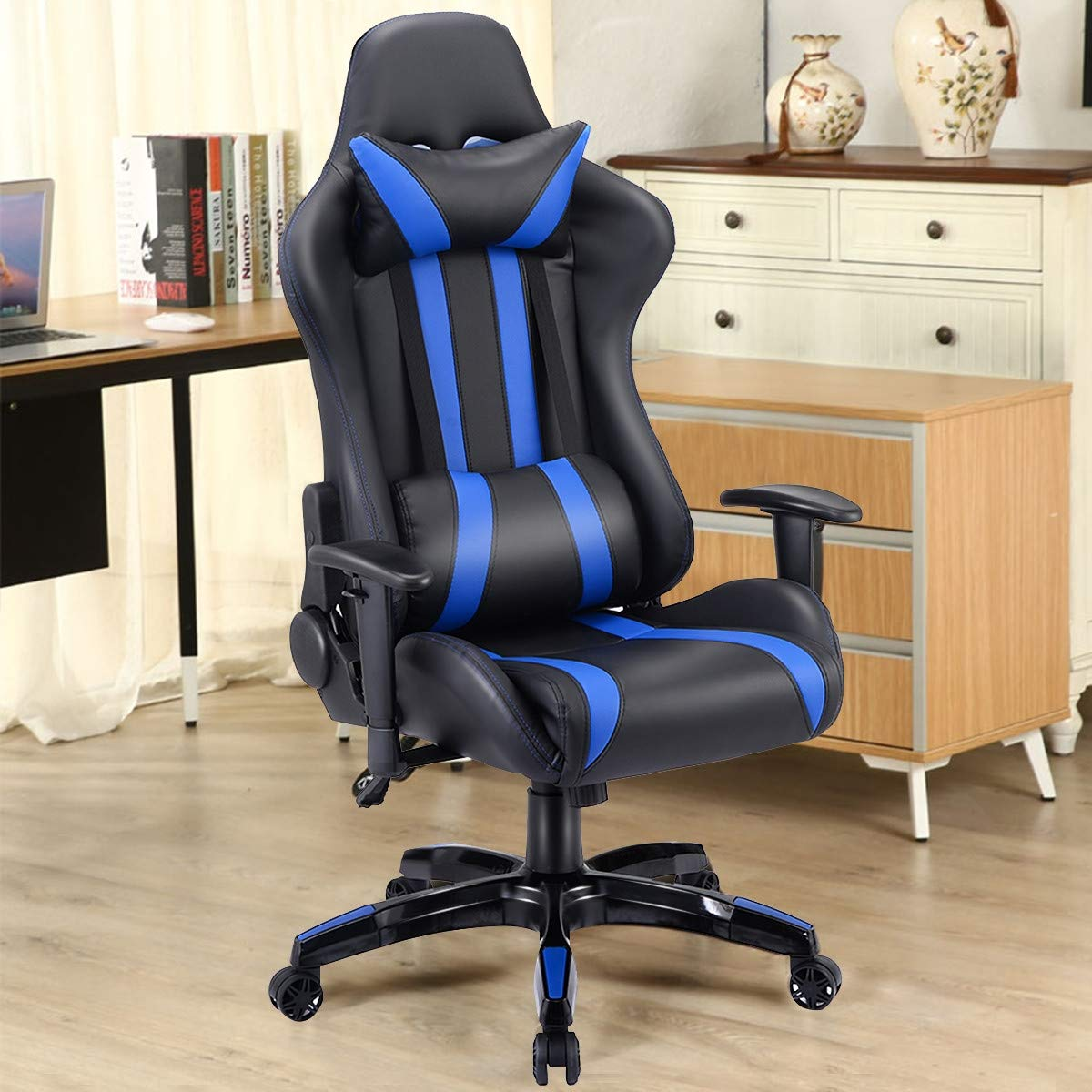 Modern Style Executive High-Back Racing Gaming Chair, Ergonomic, and Adjustable Back, Adjustable Armrest and Seat Height,360-Degree Swivel, PU Leather, Fade-Resistant and Easy to Clean Blue by Caraya