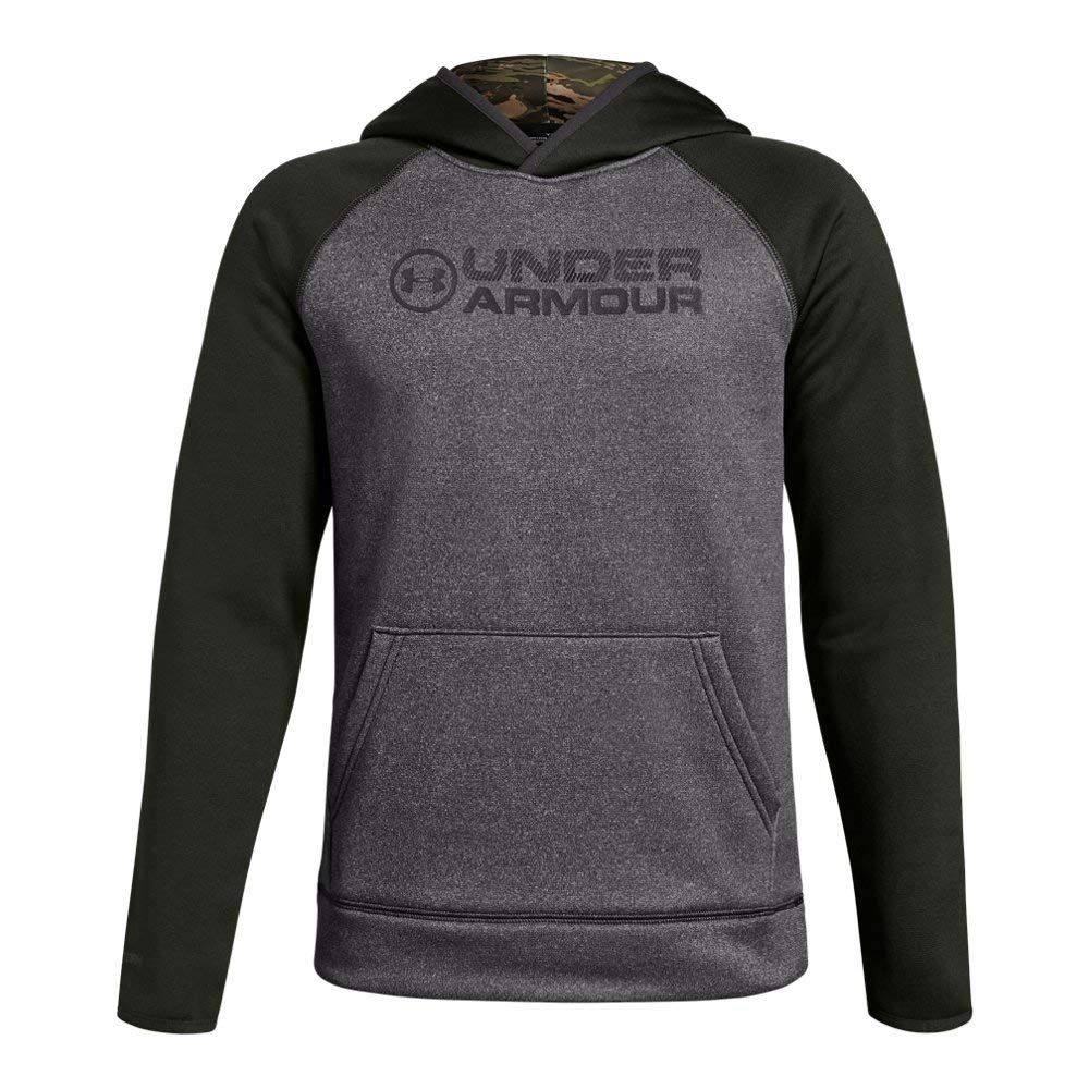 Under Armour Boys Armour Fleece Stacked Hoodie, Charcoal Light Heath (019)/Charcoal, Youth Small by Under Armour