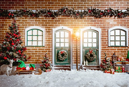 Snowflake Arrow (AOFOTO 7x5ft Christmas Front Door Backdrops Snowflake Xmas Tree Photo Shoot Background New Year Wreath Garland Sleigh Snowfield Photography Studio Props Girl Boy Kid Portrait Patio Decor Wallpaper)