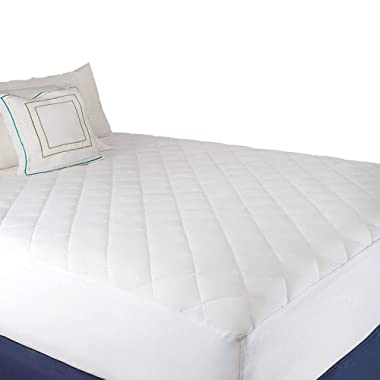 Abit Comfort Mattress cover, Quilted fitted mattress pad queen fits up to 20  deep hypoallergenic comfortable soft white cotton-poly