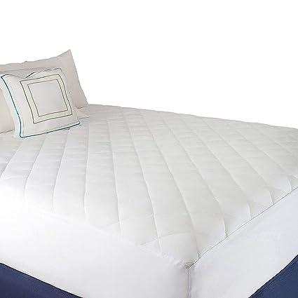 Funda de colchón, blanco cotton-poly hipoalergénico – acolchado de colchón almohadilla suave y