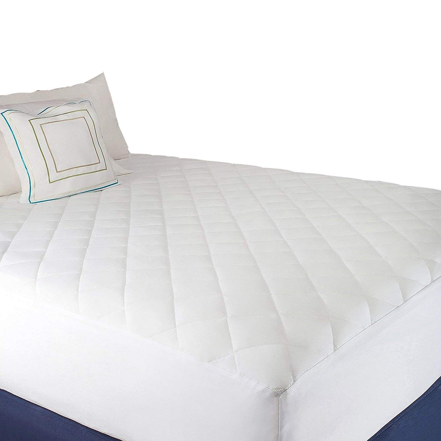 Abit Comfort Mattress cover, Quilted fitted mattress pad queen fits up to 20'' deep hypoallergenic comfortable soft white cotton-poly