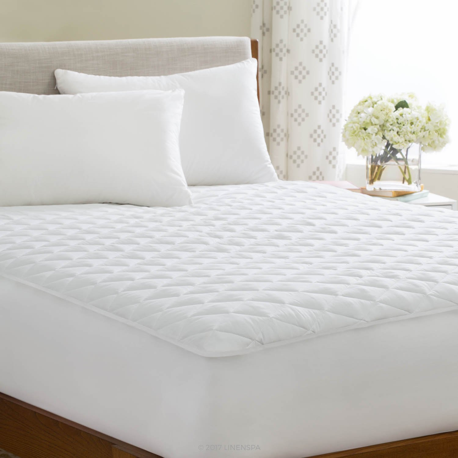 LINENSPA Waterproof Quilted Mattress Pad - Hypoallergenic Fill - Deep Pocket Fitted Skirt - Twin XL CVB Inc LS85TX20WP