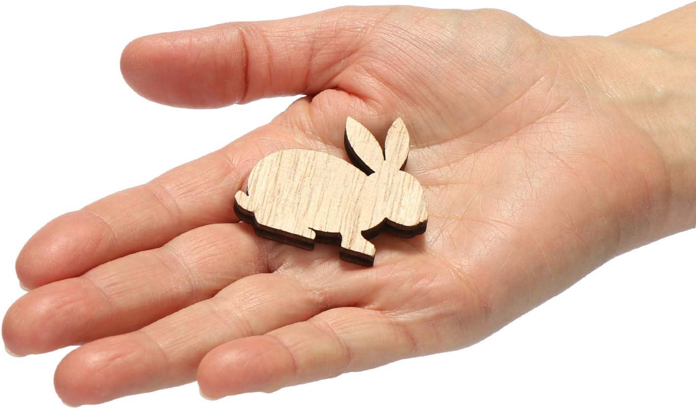 03-teilig Hasen-Deko Zement-Ei mit Hase aus Holz f/ür Tischdeko Fensterbrett oder als Regal-Dekoration com-four/® 3-teiliges Oster-Set Deko-Ei mit Ostergru/ß Frohe Ostern und Hasen-Streudeko