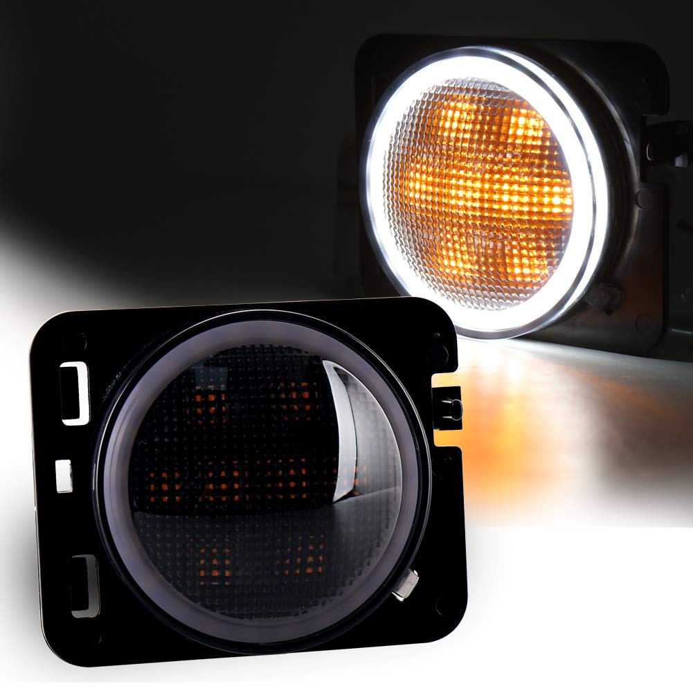 LED Side Marker Lights Amber Turn Signal with White Halo DRL Smoke Lens Replaces 07-17 Jeep Wrangler Front Fender Signal Parking Indicator Lamp OVOTOR